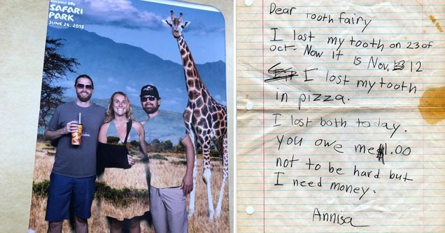 a post card but the green screen messed up and so the people's shirts have disappeared, a letter from a girl to the tooth fairy