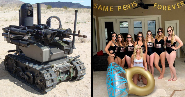 a remote controlled mini tank and a group of bridesmaid with a sign that says one penis forever