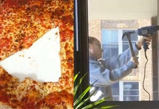 a pizza with a piece missing in the middle, a person hammering a drill into the wall