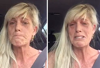 A blonde woman with lupus is sitting in her car and filming herself telling a story while crying.