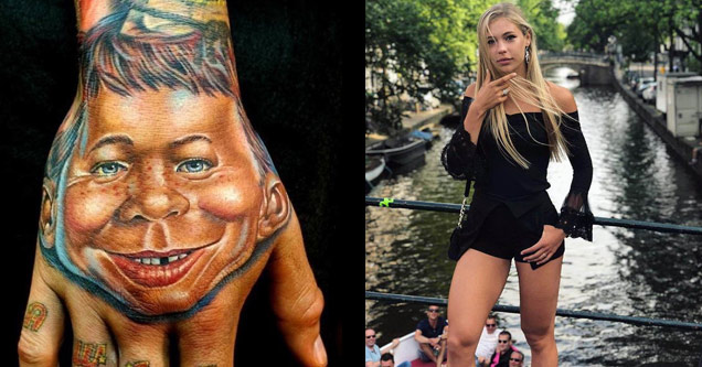 a hand with a mad tv face tattoo and a sexy blonde in short dress