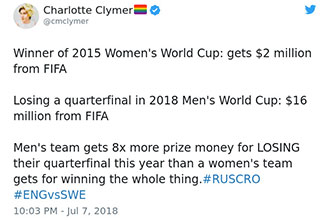 woman talks about the pay gap in soccer