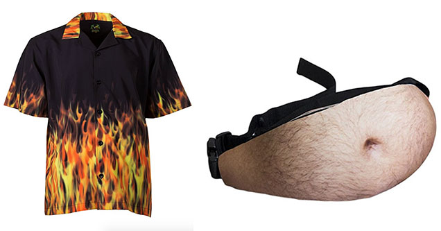 flame shirt and a beer belly fanny pack