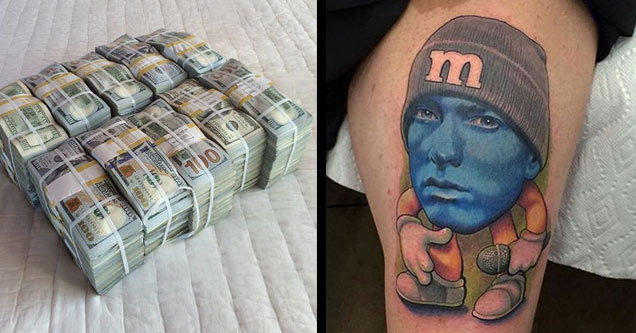 a bunch of money wire tied on the bed and a tattoo of blue eminem