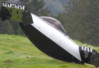 a flying car called the Blackfly taking off from the ground