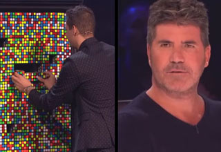 a man doing a magic trick with rubiks cubes and simon cowell looking shocked