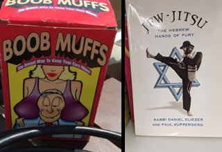 a pair of boob muffs and a jew jitsu book