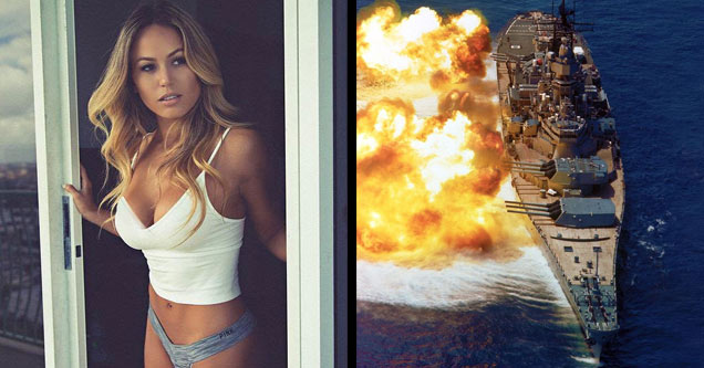 a hot blonde in white tank top and a navy ship firing with a huge explosion