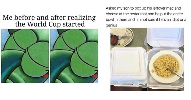 squidward with his eyes closed in two photos, a bowl of mac and cheese in a togo box
