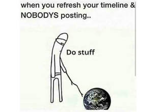 a man poking the globe with a stick while saying