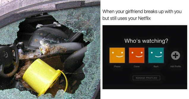 a bucket thrown through a car window, a netflix account with a message spoken through its users