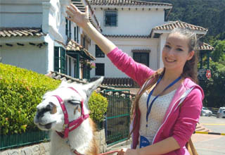a lady in a pink outfit sitting on top of a llama with her arm extended