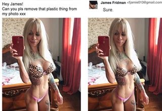 a blonde woman with implants gets her photo retouched by a troll who removes her fake boobs