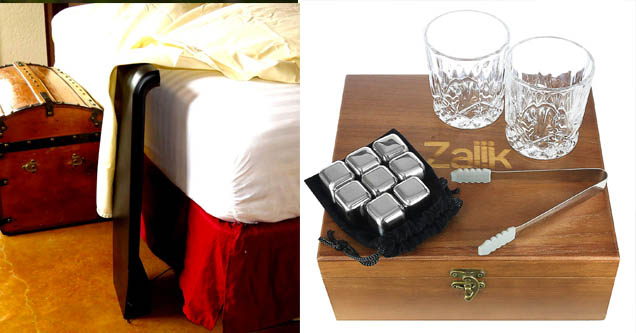 a fan that is inserted beneath a bed, a whiskey set that cools drinks down