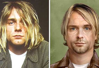 kurt cobain looking as he did before he passed, and a cg rendering of what he would look like today