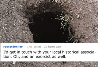 a hole in the dirt with a reddit post overlayed on top of it