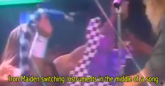 iron maiden switching instruments during a show