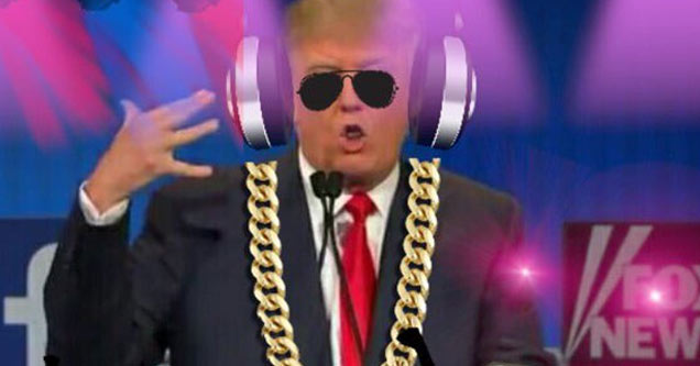 a photoshopped image of donald trump wearing headphones and a big gold chain while djing