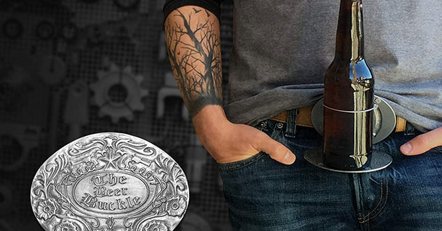 A belt buckle with a bottle opener that also holds your beer
