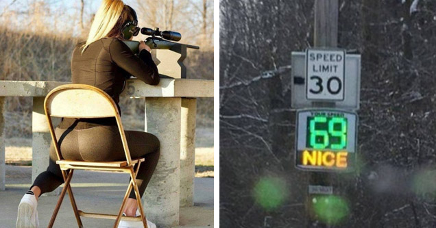 a blonde girl sitting on a folding chair shooting a gun and wearing yoga pants and a rad sign that say 69 nice