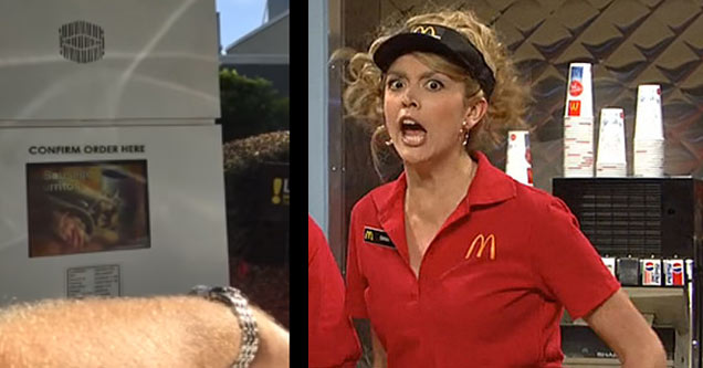 a mcdonalds drive through and a woman in mcdonalds outfit