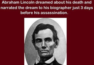 a portrait of abraham lincoln with text about him dreaming about his death 3 days before it happened