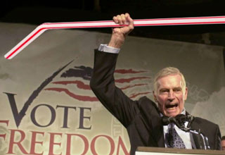Charlton Heston raising a straw over his head - straw ban meme