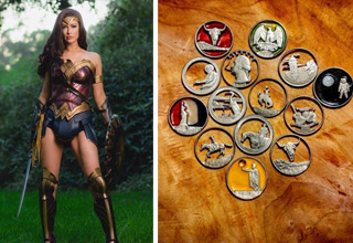 a woman in a wonder woman costume and cut out coins
