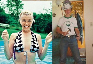marilyn monroe in a pool without makeup, elon musk as a 17 year old