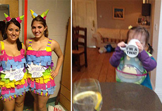 hot girls dressed as pinatas with SMASH ME signs and a baby drinking out of a mug that says I AM A TWAT on the bottom