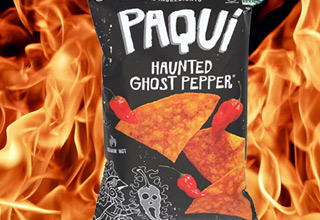 paqui chips with fire in the backround