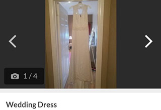 guy sells wedding dress for hookers and booze