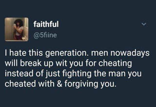 a tweet from a lady wondering why the boyfriend she cheated on is mad at her