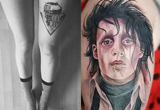 a set of legs with R2D2 tattooed on one, jonny depp from edward scissorhands as a tattoo