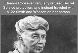 eleanor roosevelt looking stern with a fact about her