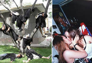 a tree filled with asian people in graduation outfits, two girls making out as a dude watches