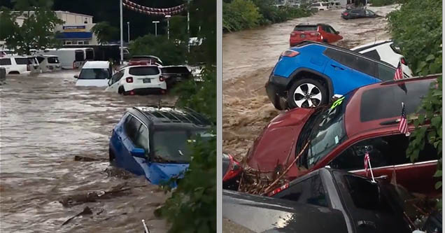Cars and SUVs are floating away from a car dealership on Saturday, August 11, 2018 in Little Falls, New Jersey.