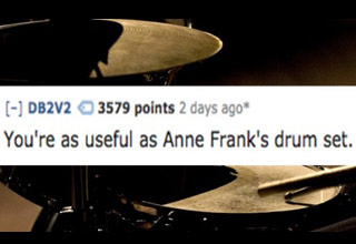 a drum set with text that says you are about as useful as anne franks drum set