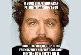 zach galifianakis with a unethical life hack enscribed on top of him