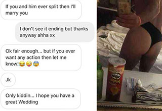 dude trolls a guy whose texting his gf
