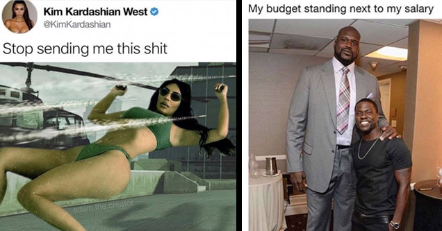 a meme with kim kardashian dodging bullets like neo from the matrix a photo of shaq and kevin hart with text about my budget vs my income