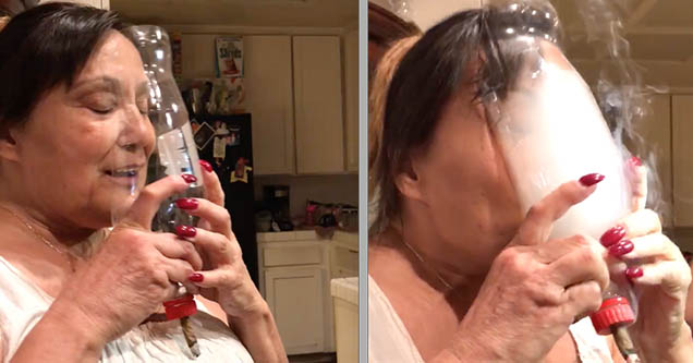 A grandma is smoking marijuana out of a homemade smoking device made out of a plastic bottle.