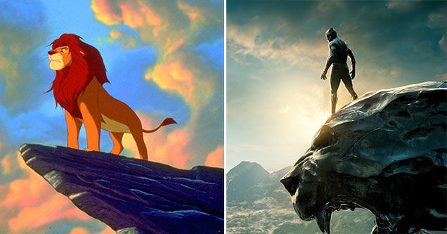 lion king and the black panther side by side