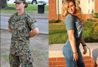 an attractive female soldier in and out of uniform