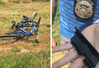 a photo of a mangled bicycle from a hit and run and a detective holding a broken piece of black plastic