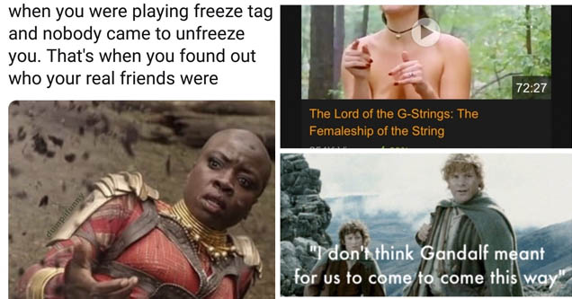 a member of the black panther squad looking shocked on the ground, a porn parody of lord of the rings in meme form