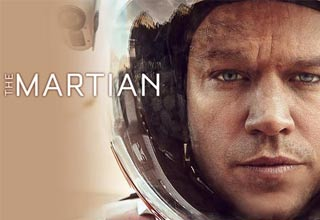 a movie poster from The Martian with matt damon in a space suit on the planet mars