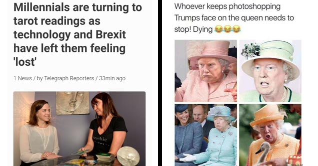 a woman getting a tarot card reading with text about millennials and technology and a meme of the queen photoshopped with trumps face