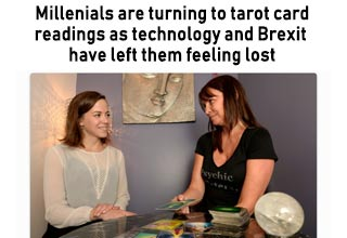 a woman getting a tarot card reading with text about millennials and technology
