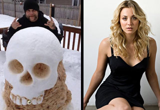 a man sitting behind a skull made of snow and actress Kaley Cuoco from big bang theory